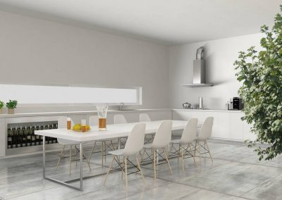 White kitchen with inner garden